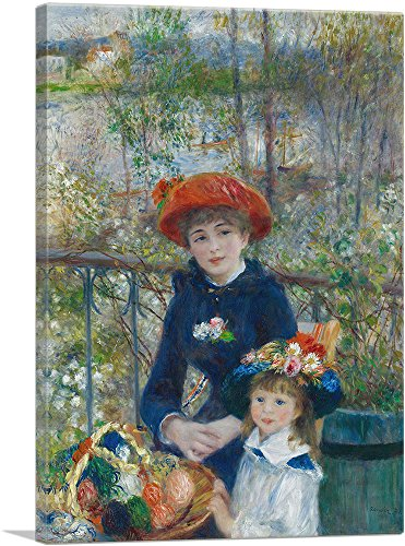 (ARTCANVAS Two Sisters - On The Terrace 1881 Canvas Art Print by Pierre-Auguste Renoir- 26