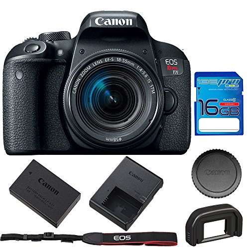 Canon EOS Rebel T7i DSLR Camera with 18-55mm Lens + 16GB SD Memory Card by Pixibytes
