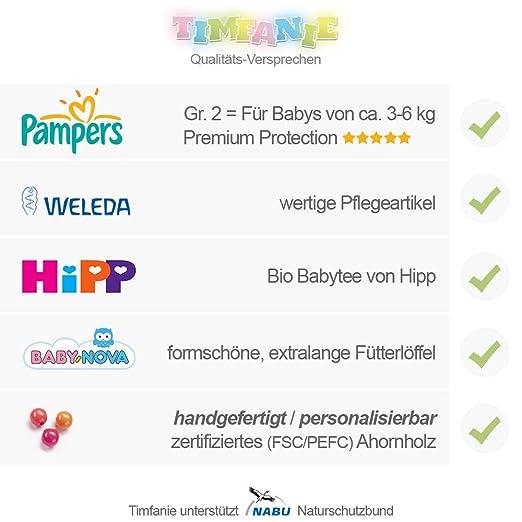 Timfanie/® Windeltorte Ziehente mit Gravur zart-rosa 2 2-st/öckig Windeln Gr