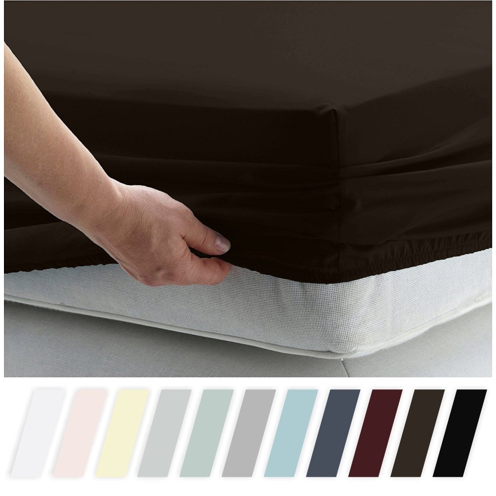 California Design Den 400 Thread Count 100% Cotton 1 Fitted Sheet Only, Long - Staple Combed Pure Natural Cotton Sheet, Soft & Silky Sateen Weave by (Queen, Chocolate Brown)