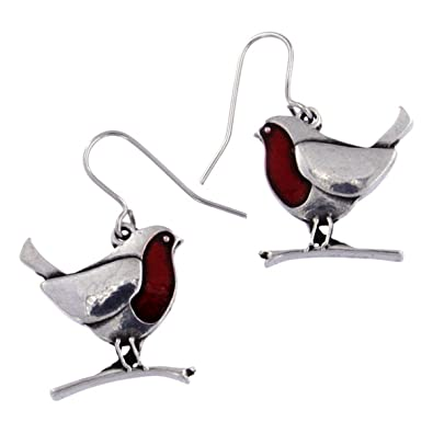 St Justin Pewter Enamel Robin Bird Drop Earrings DhSHnYIYUP