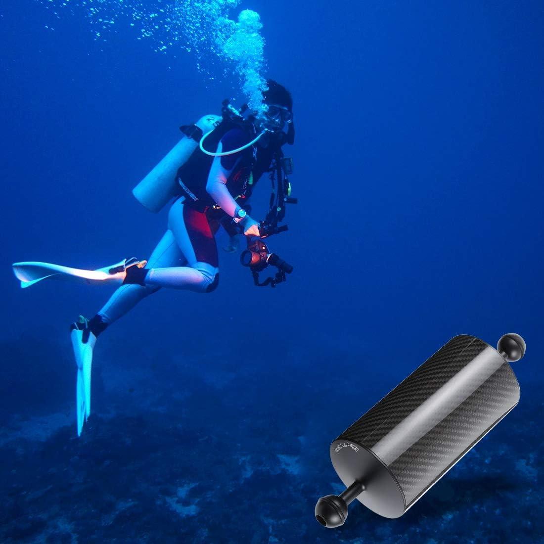 Ball Diameter Buoyancy 25mm 30m Underwater Lighting 9.84 inch 25cm Length 80mm Diameter Dual Balls Carbon Fiber Floating Arm 600g Diving Acc