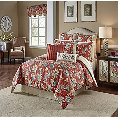4 Piece Unique Floral Garden Design Comforter Set King Size Featuring Colorful Flower Blossom Reversible Basket Weave Motif Bedding Stylish Traditional Nature Inspired Bedroom Red Blue Multi