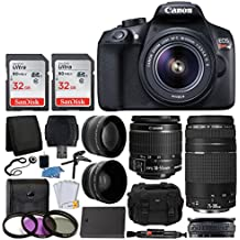 Canon EOS Rebel T6 Digital SLR Camera, 18-55mm EF-S Lens, EF 75-300mm Lens, SanDisk 64GB Card, Telephoto and Wide Angle Lens, Extra Battery, 58mm UV Filters, Gadget Bag with Bundle Accessories