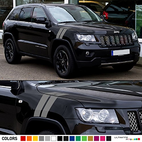 2x Hood Fender Racing Hash Stripes Decal Graphic Vinyl Compatible with Jeep Grand Cherokee SRT8 WK2 (Grand Cherokee Srt8 Rims compare prices)