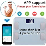 Amerzam Smart Scale,Bluetooth Body Scale Bathroom Scale Wireless Body Fat Scale with IOS and Android App to Manage Body weight, Body Fat, Water, Muscle Mass, BMI, BMR, Bone Mass