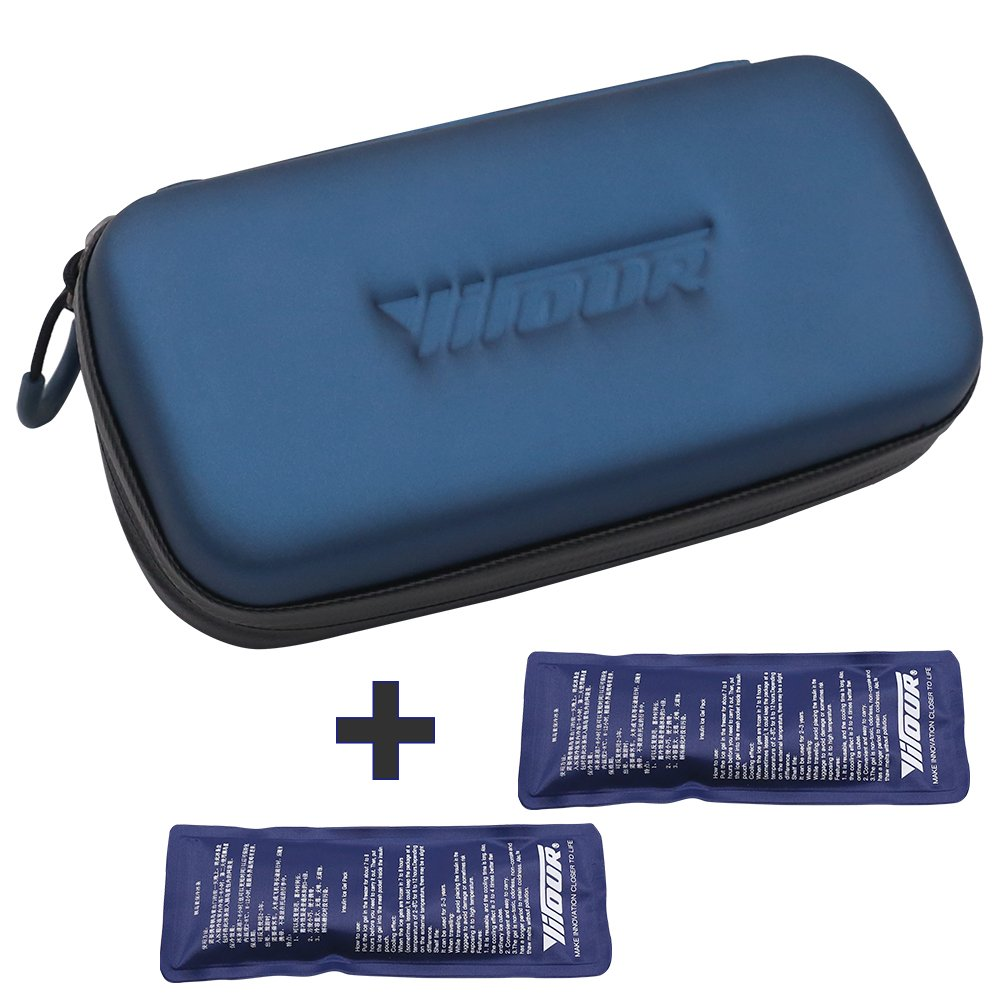 Insulin Cooler Travel Case Bag with 2 Ice Chill Pack Medical Cooler Bag Diabetic Organize Medication Insulated Cooling Bag