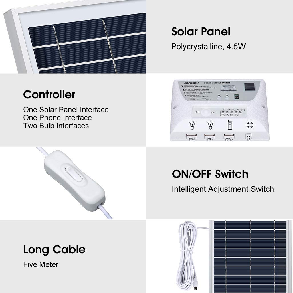SUAOKI Solar Panel System Lights Kit, Upgraded Portable Home Solar Lights Outdoor Solar Powered Charger with Switch Controller, 2 LED Bulbs, 3 USB Ports for Indoor Outdoor Camping Garage Emergency by SUAOKI (Image #2)