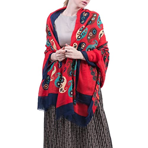 Zhuhaitf Tela de alta calidad Cotton Linen Soft Scarf Towel Flower Flora Formal Shawls and Wraps for...