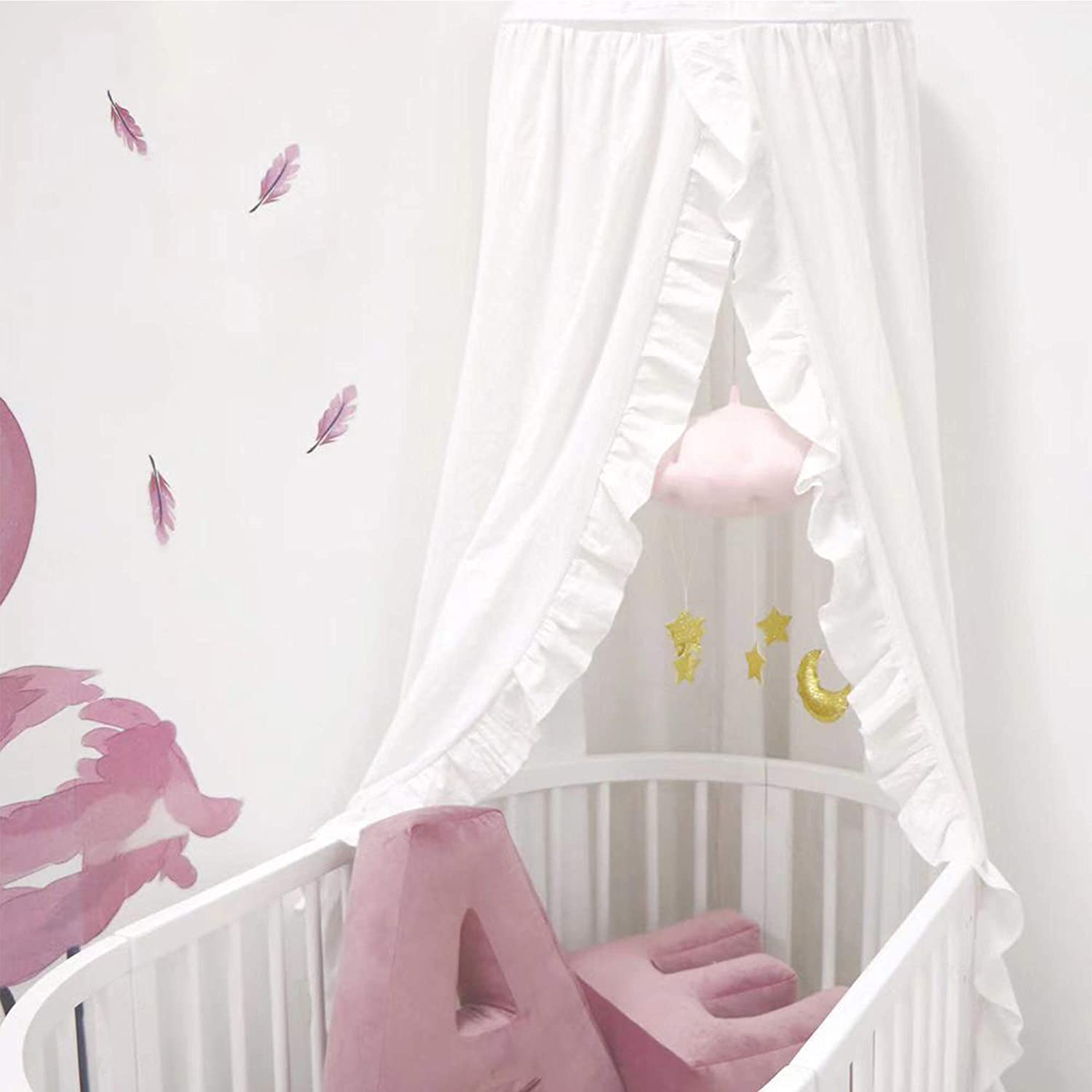MOMAID Baby Bed Canopy with Frills Crib Reading Nook Game Tent for Kids Hanging Mosquito Net Nursery Play Room Decor (White)
