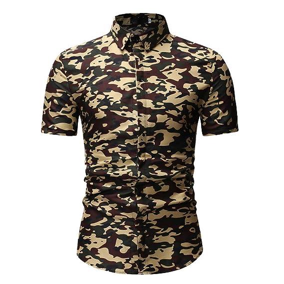 Mymyguoe Camisa Superior de Manga Corta con Estampado para Hombre Camisa Casual de Algodón Camisa de