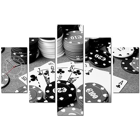 Reloj de pared de cinco elementos Tarjetas de juego de fichas de casino de póker Vintage