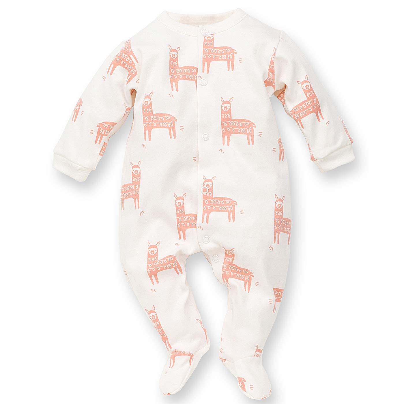 Pinokio Muchachos Unisex ni/ñas Pijamas de una Pieza En General Blanca Menta Naranja Turquesa Happy Llama Romper Pijamas del beb/é 100/% algod/ón