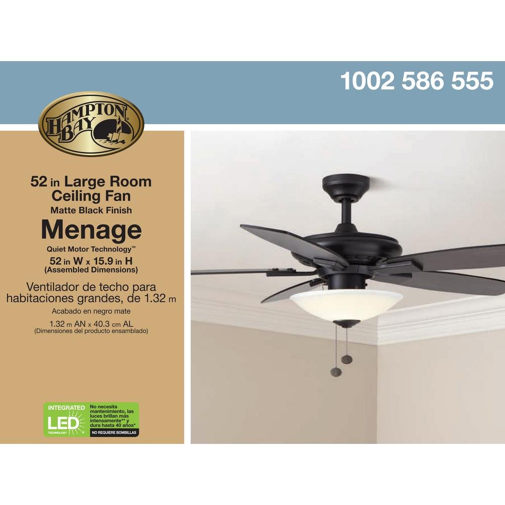 Integrated LED Indoor Matte Black Ceiling Fan: Home & Kitchen