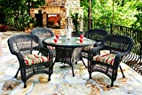 Portside 5-Piece Outdoor Wicker Dining Set, Dark Roast Wicker, Custom Sunbrella Cushion Fabric
