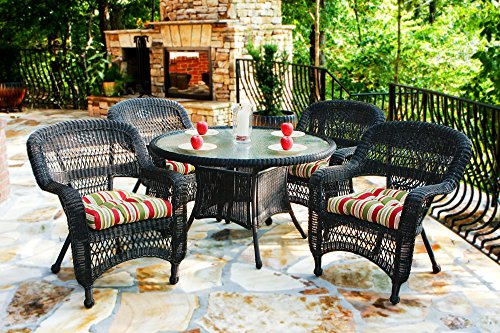 Tortuga Outdoor PSD-DR MONTP 5 Piece Portside Dining Set with Dark Roast Wicker & Monti Pompeii Cushions (Portside Dining)