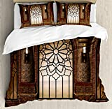 Gothic Duvet Cover Set by Ambesonne, Antique Myst Gate with Oriental Islamic Pattern and Curvings Artistic Design Illustration, 3 Piece Bedding Set with Pillow Shams, King Size, Brown