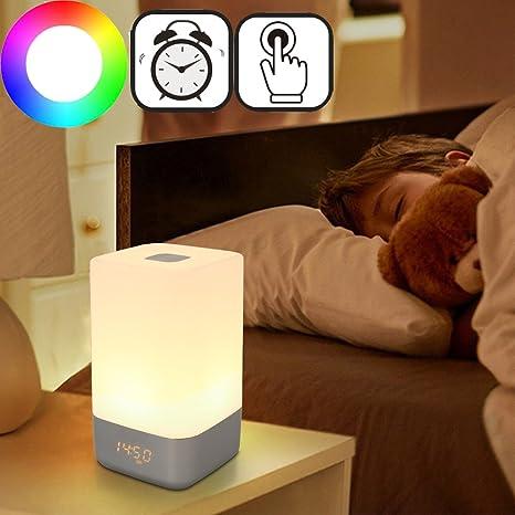 qulista Touch de noche lámpara de mesa Luz Regulable LED ...