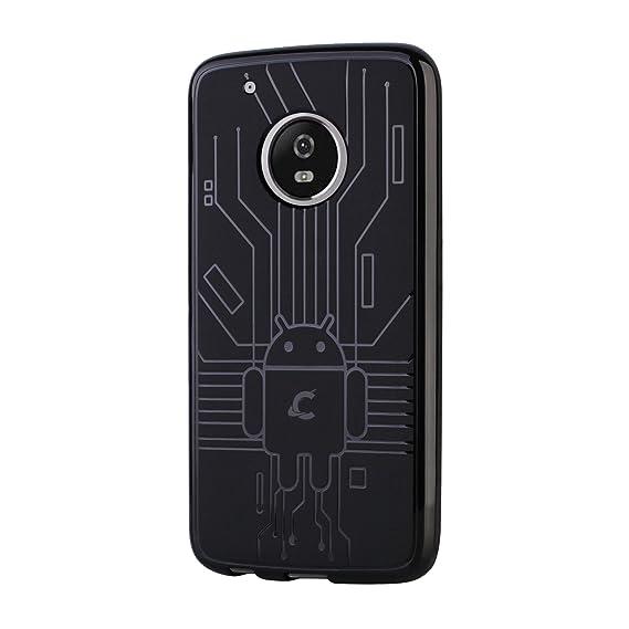 super popular 11989 467c6 Cruzerlite Moto G5 Plus Case, Bugdroid Circuit TPU Case for Motorola Moto  G5 Plus - Retail Packaging - Black