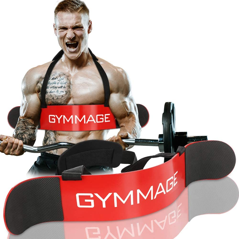 GYMMAGE Arm Blaster Biceps and Triceps Isolator Bomber Curl, Perfect Builder for Muscle Arms, Home Gym Exercise Support
