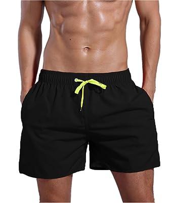 37e8fd44b24 ORANSSI Men's Solid 16-Inch Waterproof Swim Trunks, S(Waistline=30-