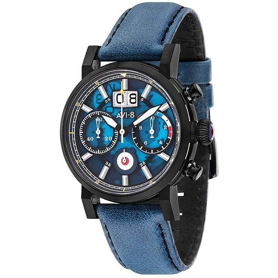 AVI-8 Hawker Hurricane Reloj de Hombre Cuarzo 42mm Correa de Cuero AV-4062-03: Amazon.es: Relojes