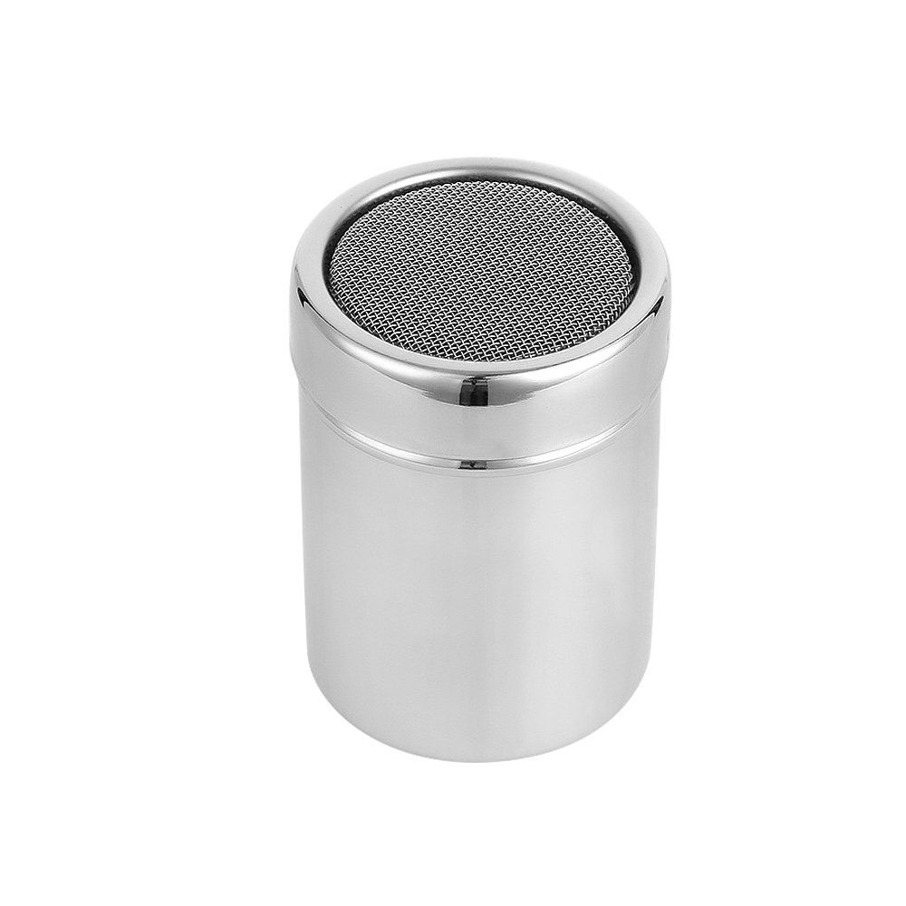 Homgaty Powder Coffee Shaker Cocoa Flour Icing Sugar Chocolate Sifter Lid 304 Stainless Steel