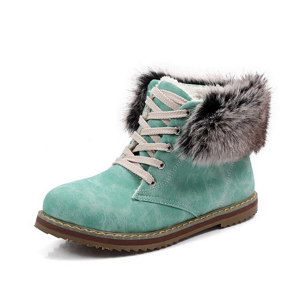 VogueZone009 Women's Low-top Lace-up Soft Material Low-Heels Round Closed Toe Boots, Blue, 43