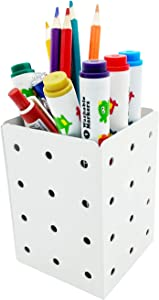 Metal Pen/Pencil-Holder for Desk, Makeup-Brush Holder as Desk-Organizer, Pencil Cup for Office/School and Home Decor, PH401 White