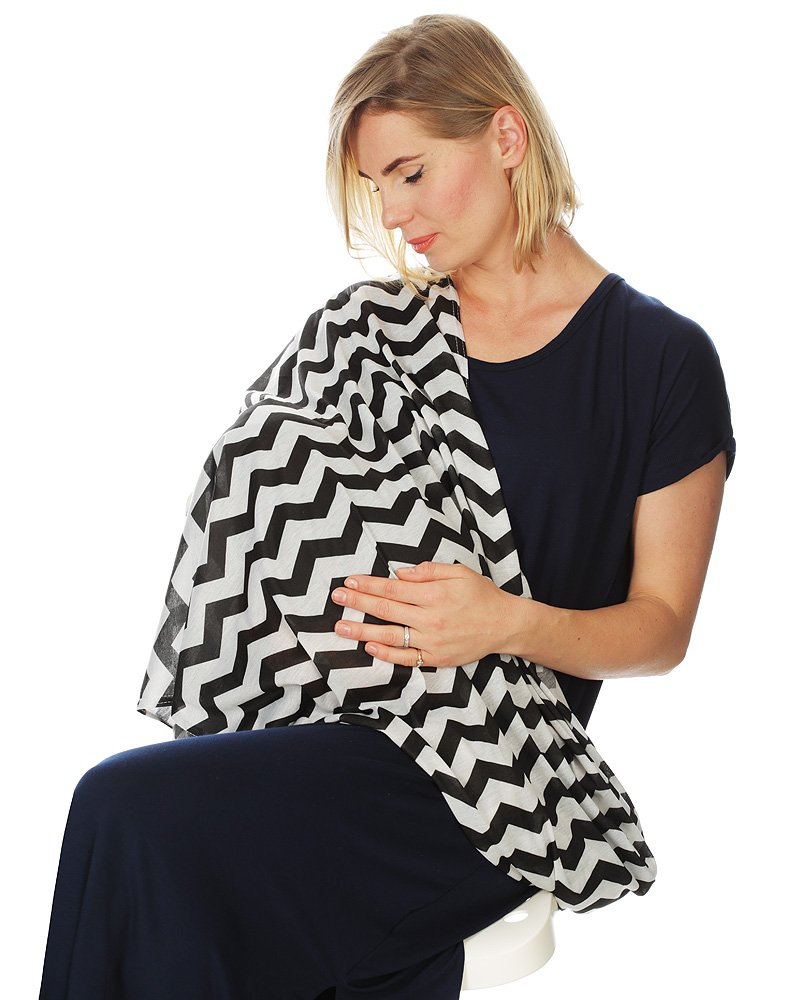 Kiddo Care Nursing Cover Infinity Nursing Scarf for Breastfeeding (Grey White Chevron)