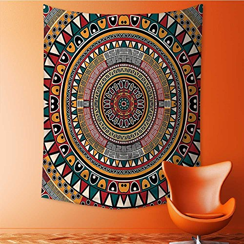 SOCOMIMI Print Decorative Throw Fabric Tapestry Wall Hanging Tribal Folkloric Tribe Round with Colors Aztec Art Jade Ruby and Mustard Art Decor for Bedroom 51.1L x 59W Inches
