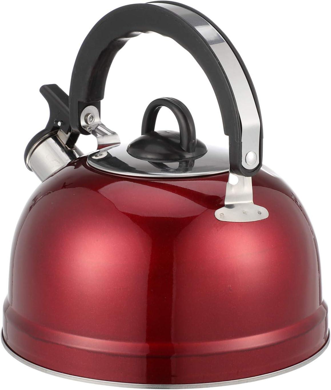 Cabilock Hervidor de agua de acero inoxidable con silbato de 3 l, para inducción, hervidor de agua, café, té, agua, caldera de metal, color rojo