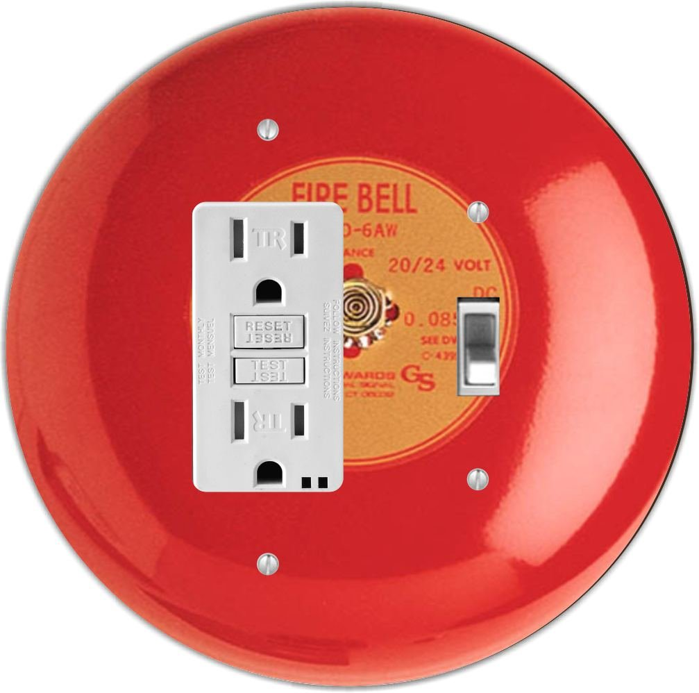 Rikki Knight RND-GFITOGGLE-95 Fire Alarm Round GFI Toggle Light Switch Plate