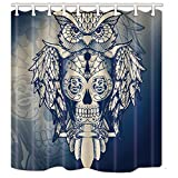 Owl Shower Curtain NYMB Vintage Owl on Sugar Skull Shower Curtain, Halloween Decoration, Mildew Waterproof Resistant Fabric Bathroom Decorations, Bath Curtains Hooks in cluded, 69X70 inches