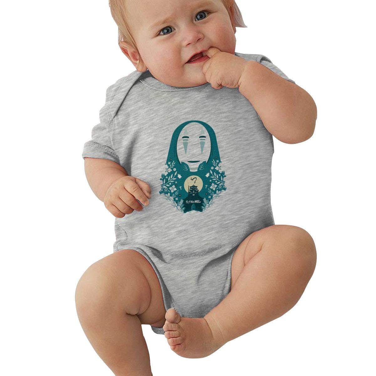 DUANIER Baby Boys Girls Round Neck Short Sleeve Bodysuit Spirited Away Funny Jumpsuits Sleepwear Black