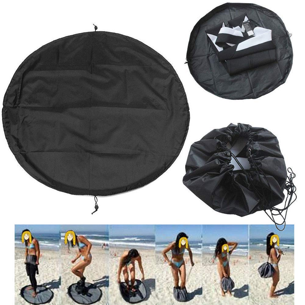 Dust Cover Outdoor Diving Bag, Polyester, Beach Swimming surf Clothing Storage Bag,Black,50cm