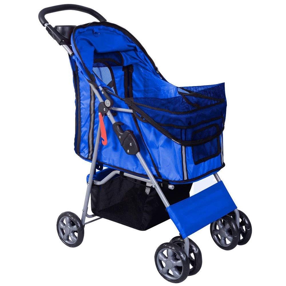 TYT Pet Stroller Dog Cart Light and Convenient Stainless Steel Rack Pet Out Travel Bracket Big Wheel Safe Rest