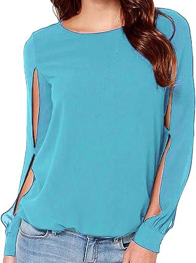 Blusa para Mujeres - Gasa Camisa Mangas Huecas Top de Cuello Redondo Color Sólido Blusas Sueltas Camisas Elegantes Super Suave Cómodo 5 Colores S-3XL: Amazon.es: Ropa y accesorios