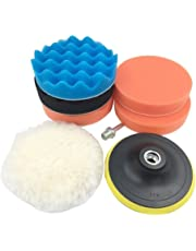 Car Polishing Pad, Tumao 4'' Car Buffing Buffer Suit Auto Car Polisher Pack of 7pcs with M14 Drill Adapter Kit (Colorful-100mm)