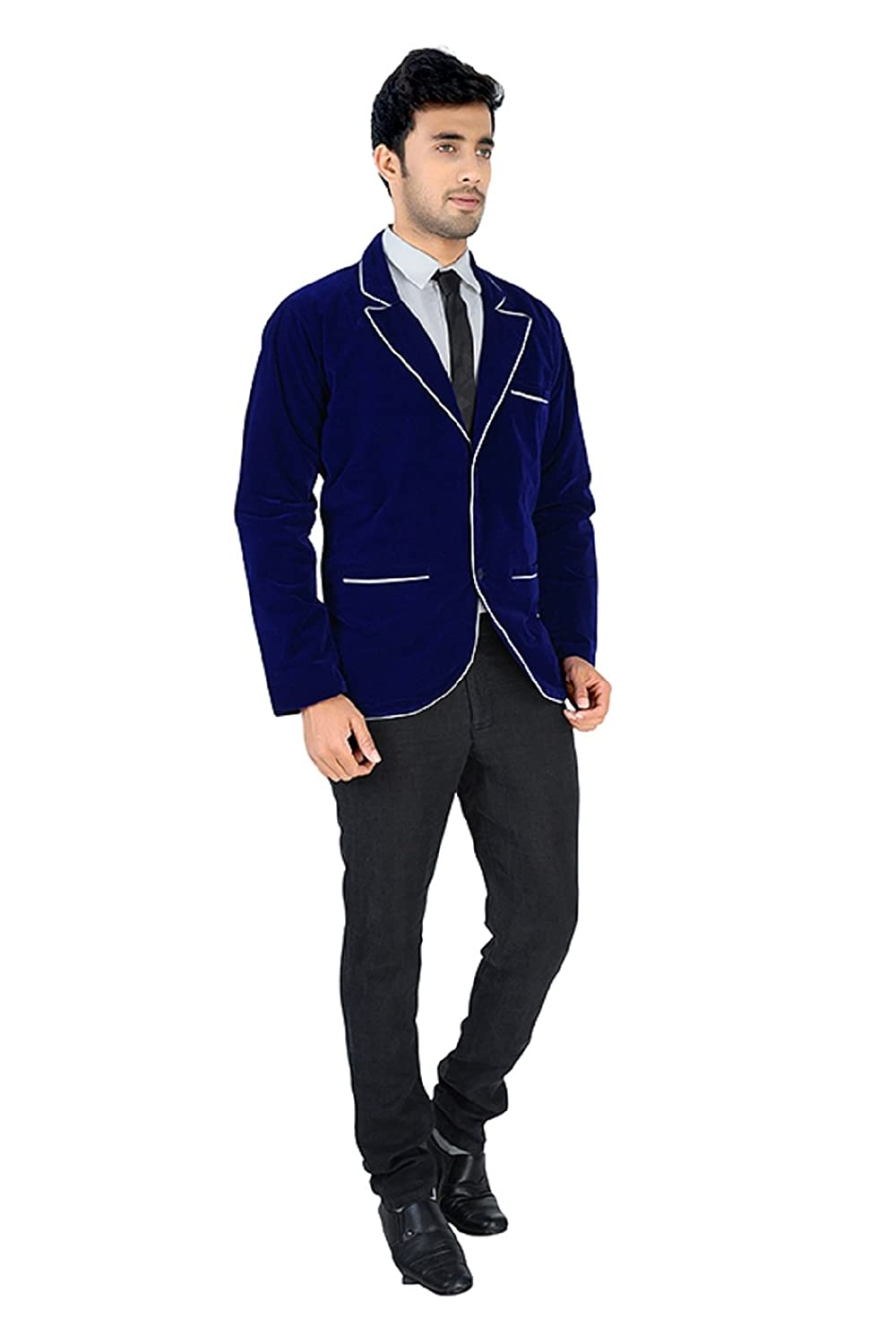 fa475ee26 Blazer for mens velvet blue  Amazon.in  Clothing   Accessories