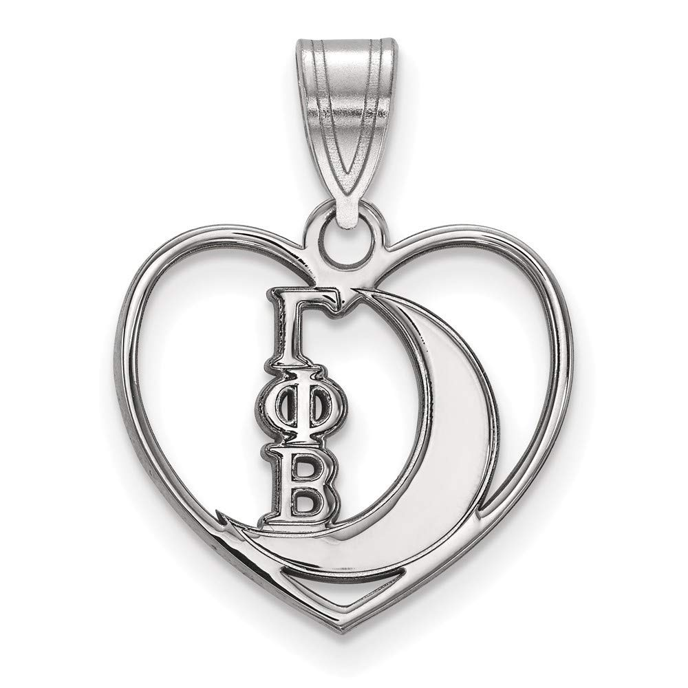 Roy Rose Jewelry Sterling Silver LogoArt Gamma Phi Beta Heart Pendant
