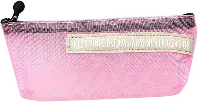 Qinlee - Estuche de malla para niñas, estuche transparente para lápices, estuche para la escuela, pequeño neceser, estuche para bolígrafos, para niñas, color rosa, Rosa: Amazon.es: Bricolaje y herramientas