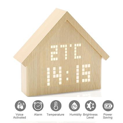 GUOLIAN Reloj Digital Alarma Despertador de Madera, LED Brillo Ajustable (Casa)