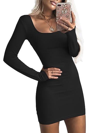 02313f8bd504 Nimpansa Women Bodycon Dress Long Sleeve Low-Cut Mini Short Party Dresses  at Amazon Women s Clothing store