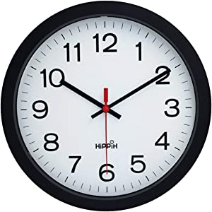 "Yoobure 12"" Silent Quartz Decorative Wall Clock Non-Ticking Digital Plastic Battery Operated Round Easy to Read Home/Office/School Black Clock"
