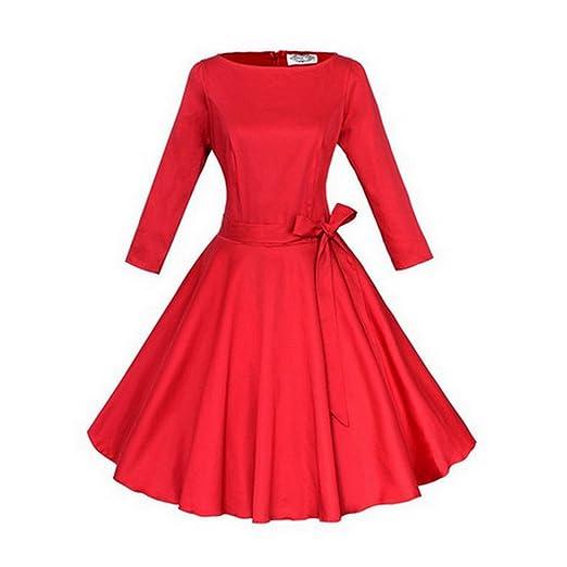 Vertvie damen Vintage 50er retro elegantes Sleeves Abendkleid Knielang  Kleid Einfarbiges Audrey Hepburn Schwingen Partykleid Rockabilly  Cocktailkleid mit ...