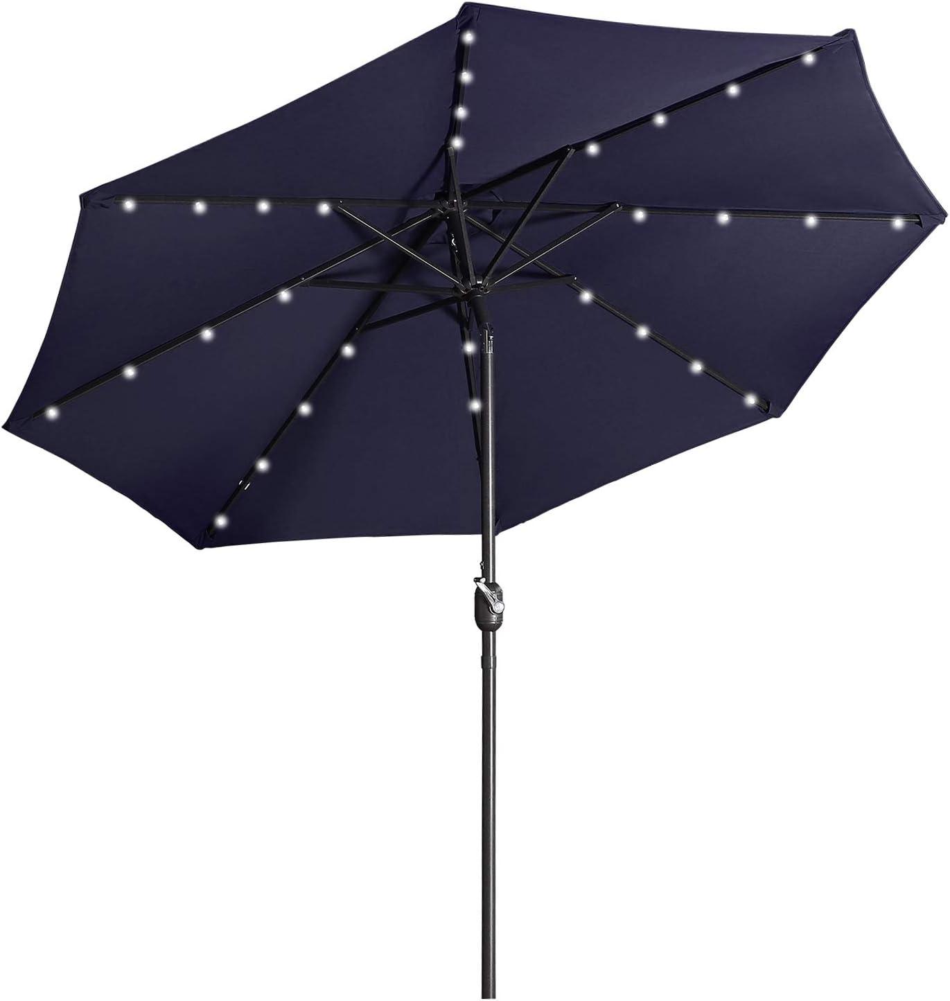 9FT Solar LED Patio Umbrella 8 Ribs Outdoor Market Beach w//Tilt Crank Sunshade