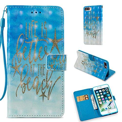 7 Plus Case, UZER 3D Premium PU Leather [Kickstand Feature] Folio Flip Wallet Case with Cash/Card Slots Durable Magnetic Book Case for iPhone 8 Plus(2017)/iPhone 7 Plus(2016) ()