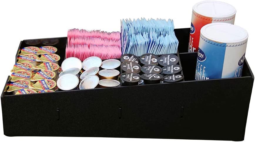 HAITIAN Coffee Condiment Organizer Cup Holder 7 Compartments for Store, Office and Home use, Handmade of 3mm ABS Sheet, Color Black