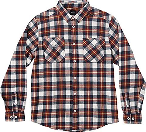 RVCA Men's That'Ll Work Long Sleeve Flannel, Sunshine, Large - Shine Flannel